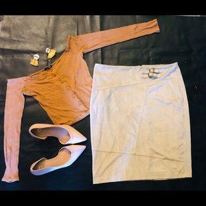 Creme Suede Pencil Skirt